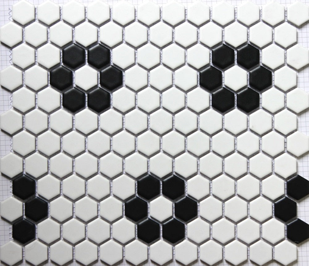 Classic white mixed black hexagon flower pattern ceramic mosaic tiles