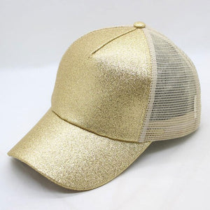Women's Hat Glitter High Ponytail Hole Cap