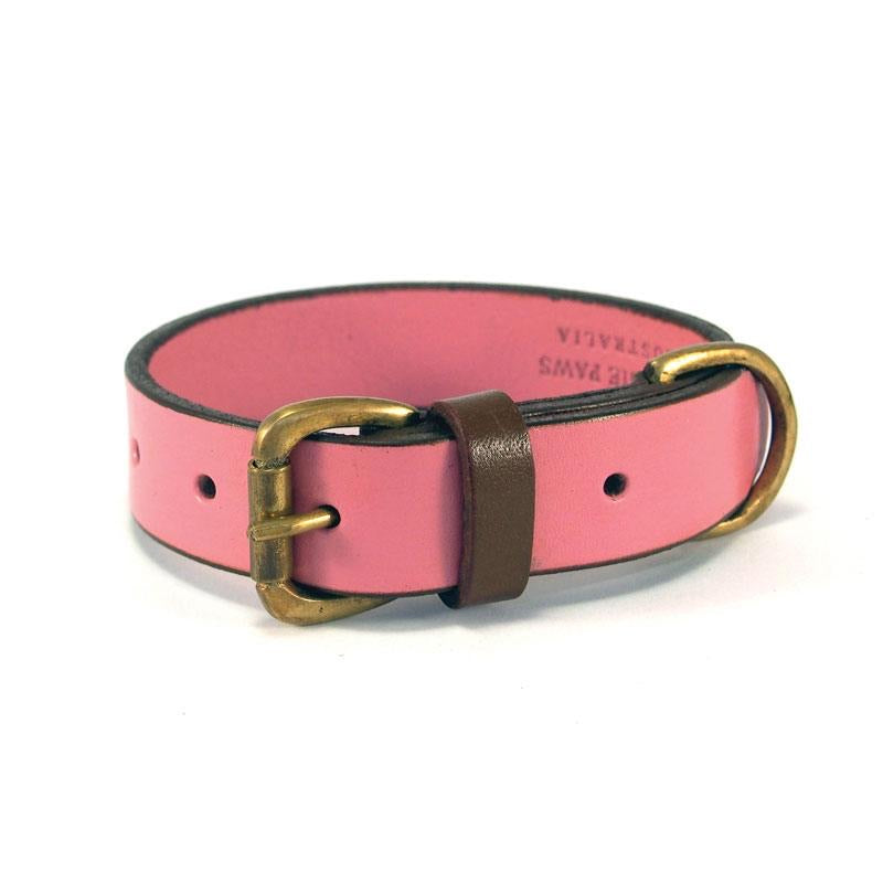 Leather Collar - Pink & Tan
