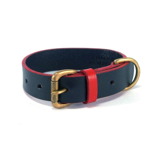 Leather Collar - Navy & Red