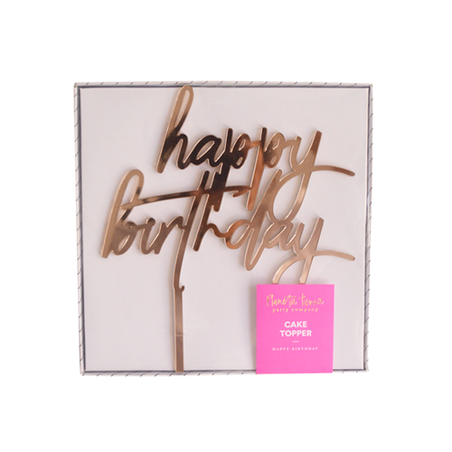 Cake Topper - Happy Birthday espejo oro rosa