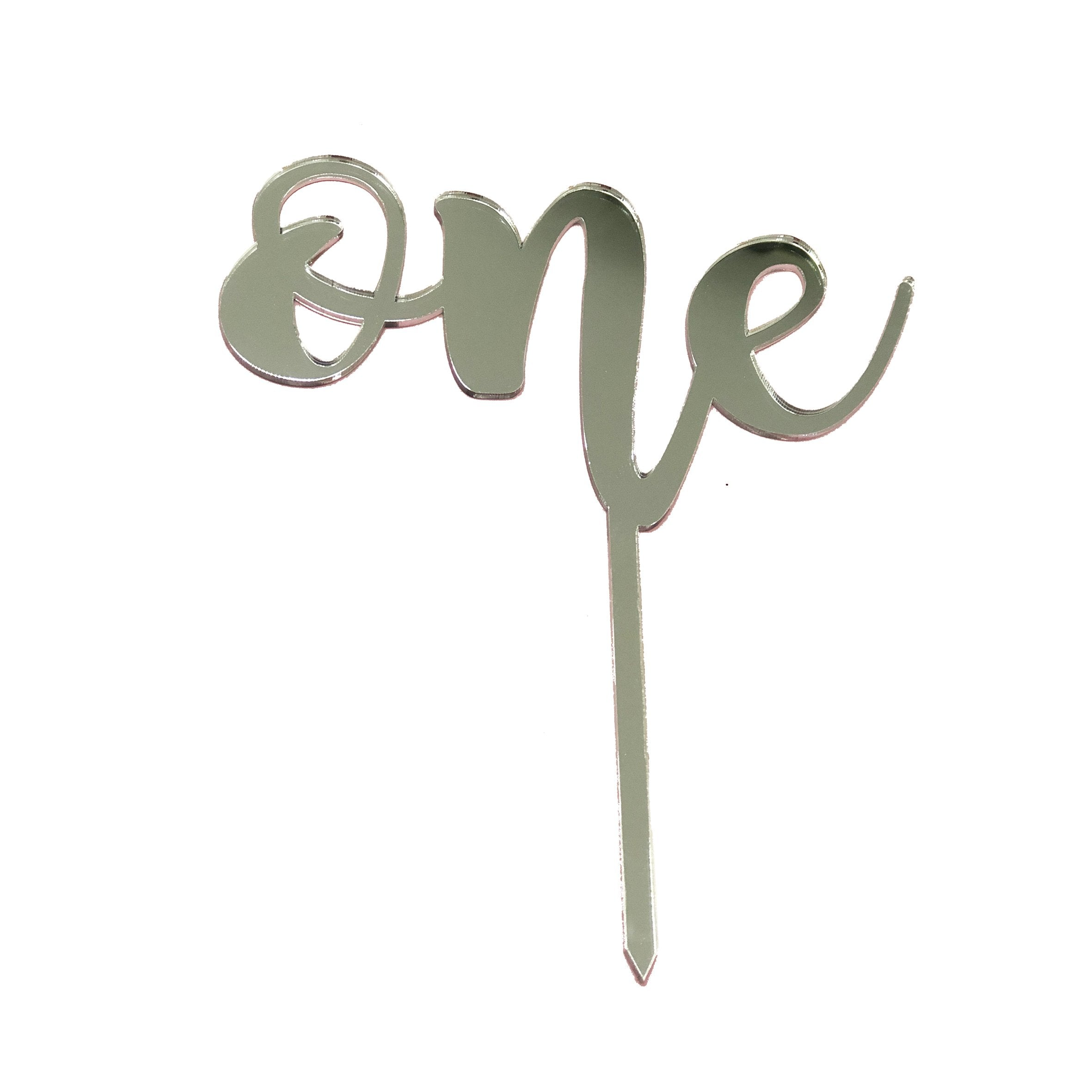 Cake Topper - One Plata brillante