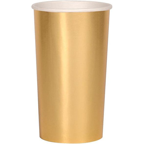 Beautiful - Vaso Alto Dorado (8 piezas)