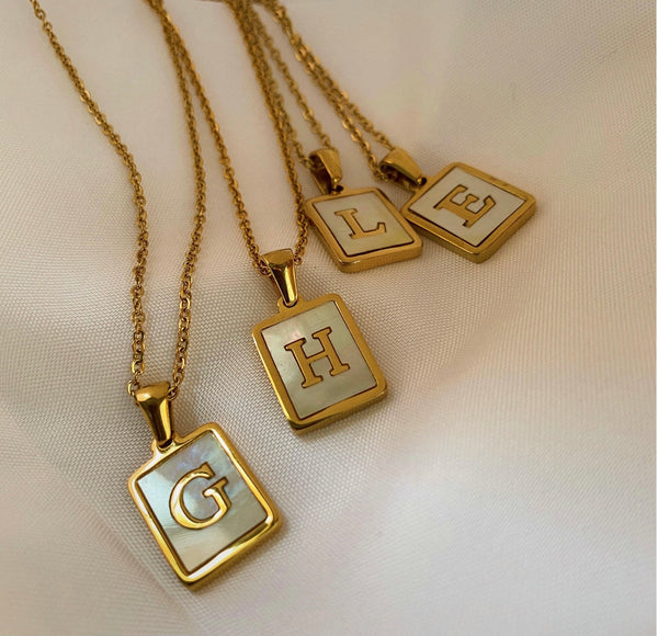 18K Gold Initial Shell Necklace