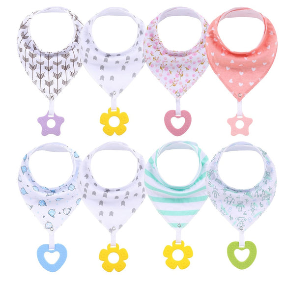 Baby Bandana Drool Bibs For Teething and Drooling Super Soft Absorbent Cotton Bibs,Teething Toys Set Toddler Baby Feeding Bibs
