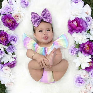 2019 Baby Girl summer clothing set Rainbow Top Ruffle Pants Brief Outfit Sunsuit for Kid clothes toddler Children newborn