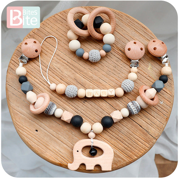 Bite Bites 1set Baby Wooden Teether Pacifier Clip Chain Beech Rodent Ring Baby Nursing Rattle Food Grade Perle Silicone Bead Toy