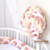 220cm length Heightening Baby Braided Crib Bumpers 4 Strip Knot Long Pillow Cushion,Nursery bedding,cot bedding , room dector