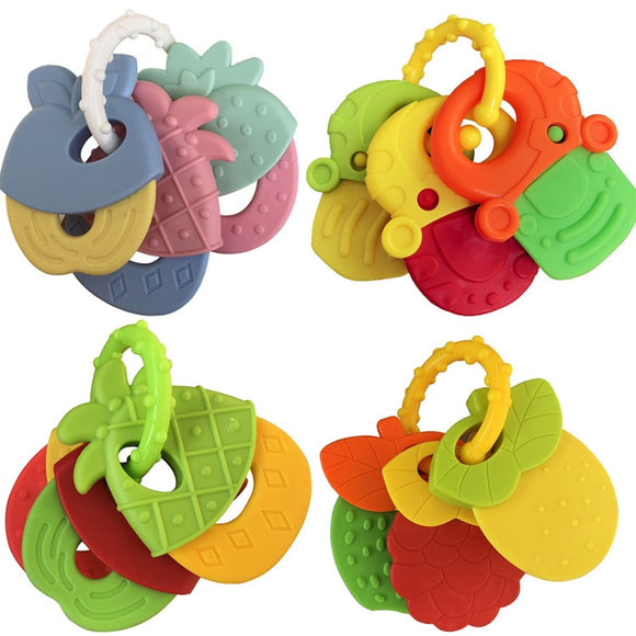 Baby Teether Baby Teething Rattle Toys Food Grade Teething Rattle 4pcs/set