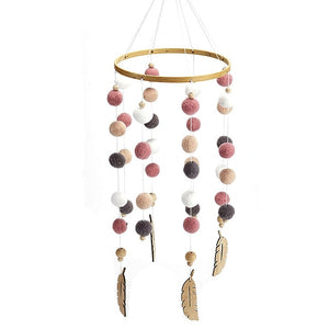 Wooden Kids Room Wind Chimes Felt Ball Baby Nursery Bed Hanging Photo Props Beautiful Craft Handmade Decoration