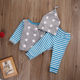 Newborn Baby Boys Girls 3PCS Clothing Sets Fashion Baby Star Striped Tops T-shirt Pants Headband Outfits Clothes Baby Clothing