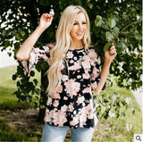 PUDCOCO Fashion Women Boho Floral Baggy Top Ruffled Half Sleeves Shirts Pregnant Maternity Blouse Clothes Plus Size