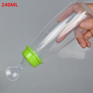 Useful Safety Silicone Baby Bottle With Spoon Food Supplement  Rice Paste Feeding Bottles  Convenient and practical 240ML