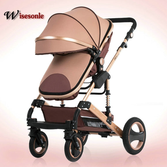 Wisesonle High landscape baby stroller can sit reclining 0-3 years old two-way shock absorber one button to collect newborn car