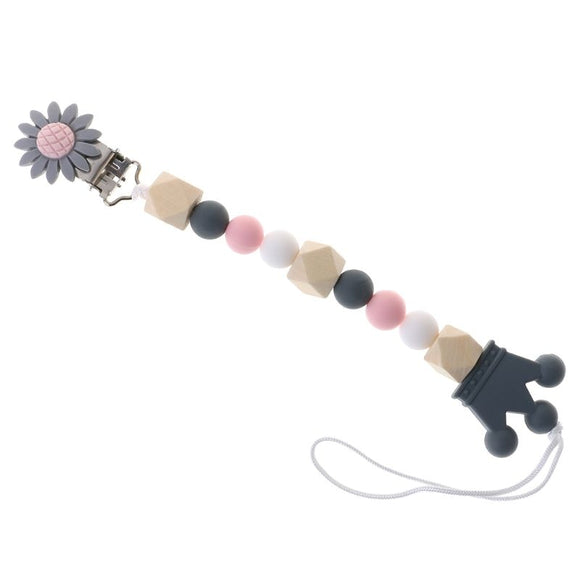Pacifier Chain Wood Beads Crown Cartoon Flower Pendant Strap Nipple Teether towel support pacifier clips