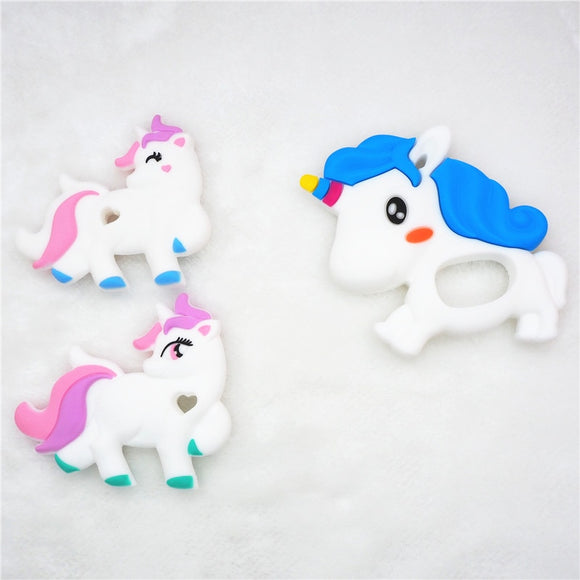 Chenkai 1PC Lovely Silicone Unicorn Teether DIY Baby Alpaca Animal Rattle Chewing Pacifier Dummy Teething Montessori Sensory Toy
