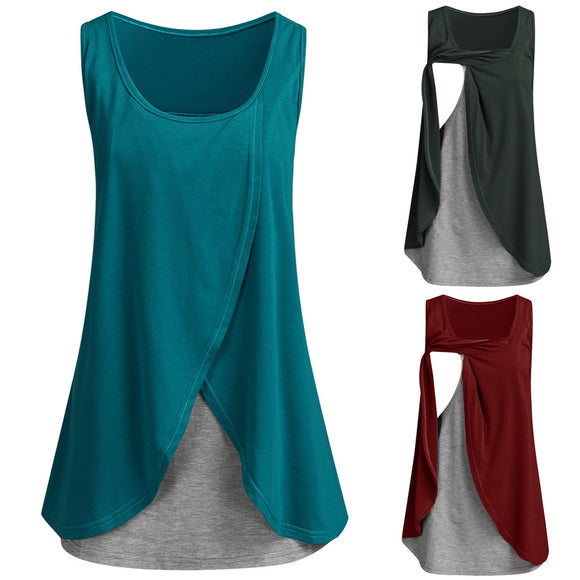 Nursing Cotton Clothes Women Solid Breastfeeding Sleeveless Straps Splicing Blouse T-Shirt Premama Comfort Clothing Plus Size