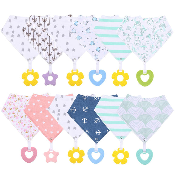 New Fashion Baby Bandana Drool Bibs and Teething Toys Made with 100% Organic Cotton Super Absorbent and Soft Unisex Newborn Bibs