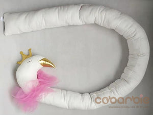 190cm Cotton Baby Crib Bumpers  gold crown swan and silver crown elepant doll Pillow Cushion,Nursery bedding,cot room dector
