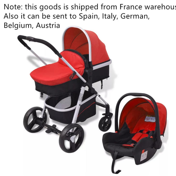 VidaXL 3-In-1 Baby Stroller Pushchair Aluminium Red And Black 10114 Large Baby Kids Basket 5-Point Seat Belt Folding Strollers