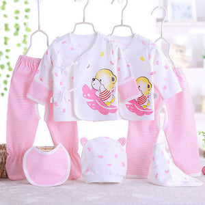 Cotton Newborn Baby Sets (5/7pcs/set) Clothes + Pants Infant Underwear Set Pajamas Clothing Suit For 0-3M Baby Clothes