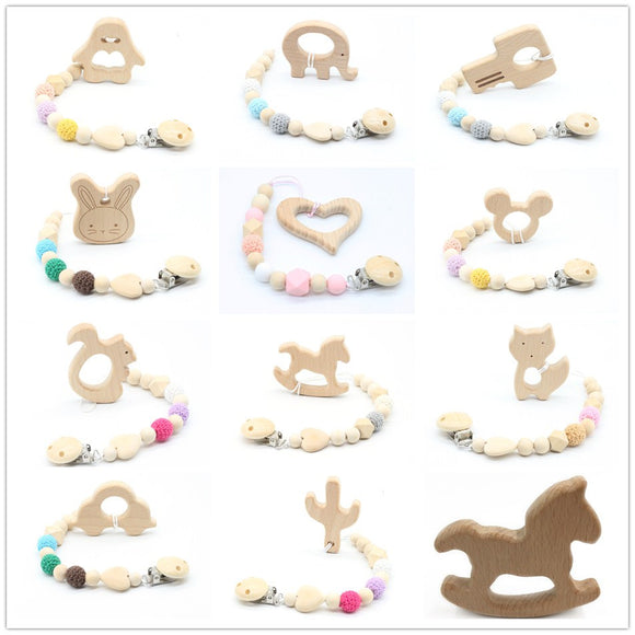dummy clip Beech Animal cartoon Pendant pacifier holder New baby Dummy clips Wooden teether Pacifier Clip Teething Toy