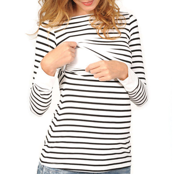 2019 Women Maternity Pregnant Clothes Long Sleeve Nursing Top Tee Stripe Casual Maternity T Shirts Female Breastfeeding Clothing
