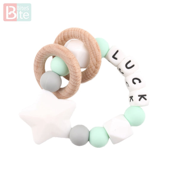 Bite Bites 1PC Baby Mint Customize Name Bracelet Silicone Star Beads Chewing Wooden Ring Trolley Rattle Food Grade Baby Teether