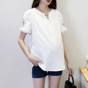 Maternity Clothings Cotton Women Shirt Pregnancy Shirts Summer Big Size Embroidered Short Sleeve  Woman Clothing Tripes Shirt