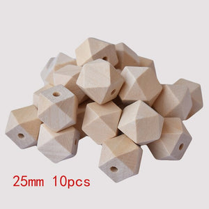 Fine Quality Unfinished Wooden Beads Baby Wood Teether Hexagon Teething Beads For baby care Toys Jewelry Making