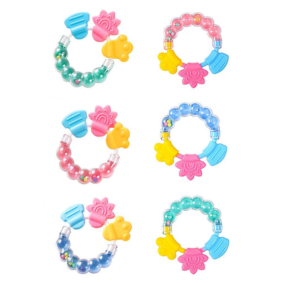 Baby Cartoon Rattle Teether Educational Mobiles Toys Teeth Biting Baby Rattle Toy Silicone Handbell Safe And Non-toxic Baby Toys