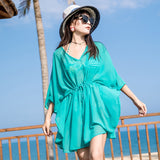 Holiday travel green chiffon shirt thin beach coat bikini blouse swimsuit outside take V-neck sunscreen clothing summer
