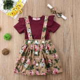 Summer 3 Pieces Infant Newborn Clothing Set Baby Girl Printing Floral Dress with Short Fly Sleeve Romper Outfit Sets