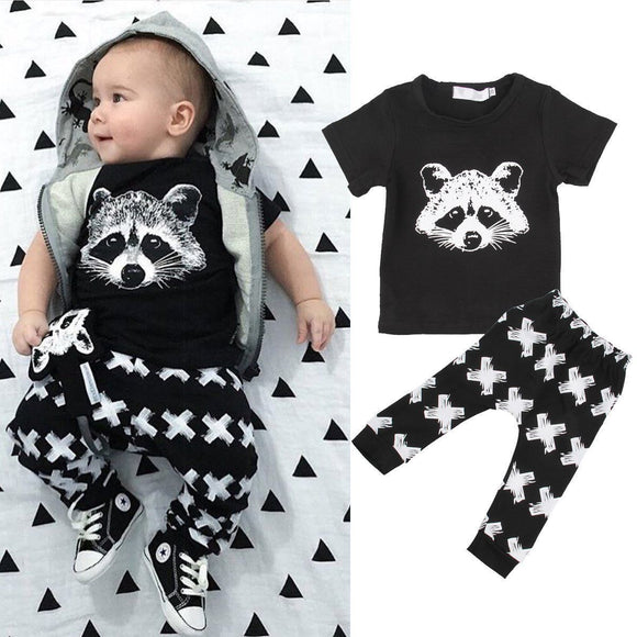 Pudcoco Boy Set 0-24M AU 2pcs Kids Baby Girls Boys Cotton Tops T-shirt+Pants Outfits Set Clothing