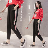 Autumn clothing Harlan nine pants striped loose maternity pants fashion large size casual sports feet pants
