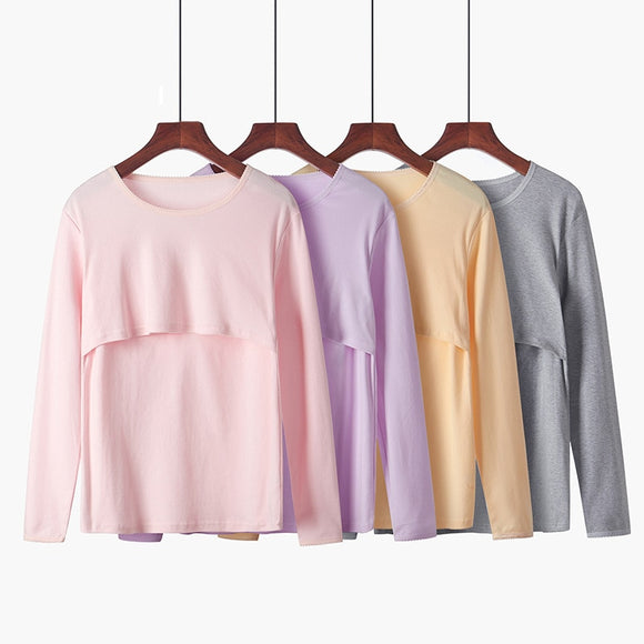 Long Sleeve Maternity Nursing Tops Pregnancy Breastfeeding Tees Shirt Clothes For Pregnant Women Wear Feedding Top Clothing