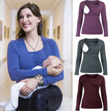Nursing T-shirt 2019 New Maternity Clothing Women Maternity Long Sleeve Comfy Layered Nursing Top T-shirt For Breastfeeding