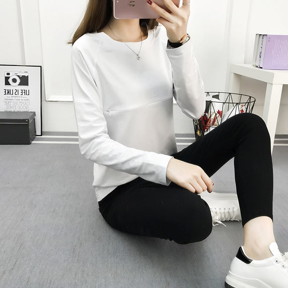 Maternity clothing Lactation clothes Maternity t-shirt Basic long-sleeve cotton  Clothes For Pregnant Women To go out Nursing