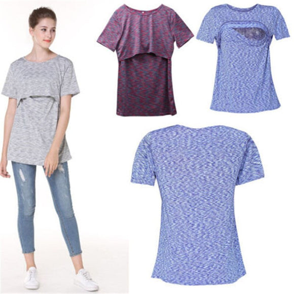 Maternity Clothes Breastfeeding Tops Nursing T-shirt Tees Short Sleeve T-shirt Women Casual Clothing