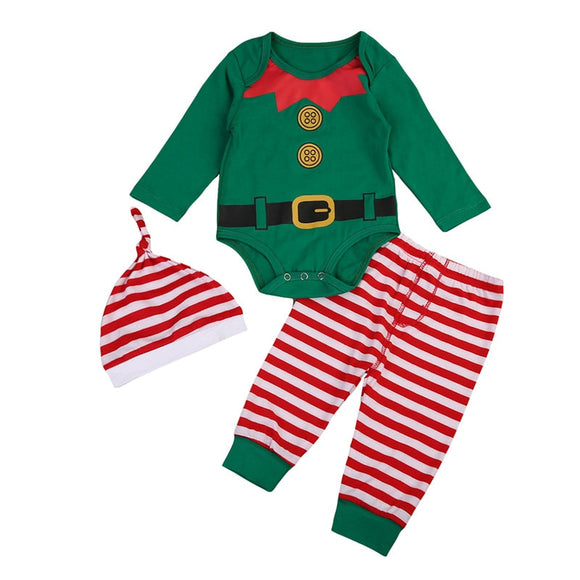 Babies 3pcs Xmas Clothing Set Newborn Baby Boys Girls Bodysuit Striped Pants Hat Outfits Set Christmas Clothes 0-24M