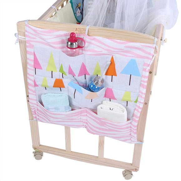 55*52cm Cartoon Rooms Nursery Hanging Storage Bag Baby Cot Bed Crib Organizer Toy Diaper Pocket for Newborn Crib Bedding Set