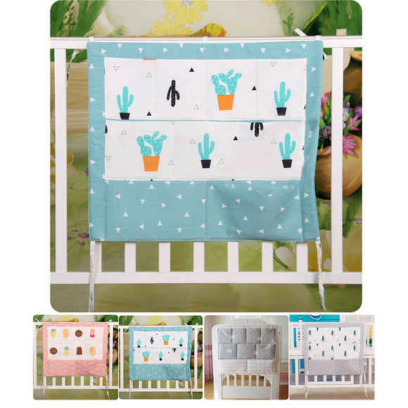 Universal Cartoon Practical Cotton Blend Convenient Pouch Hanging Nursery Diaper Pocket Storage Bag Baby Cot Tidy Crib Organizer
