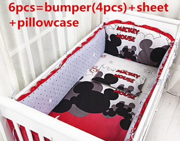 Discount! 6pcs Baby Cot Bedding set Cot Bumper Bumpers Nursery Bedding ,include(bumper+sheet+pillowcase)