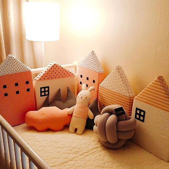 4 Pcs /Sets Cotton Baby Bed Bumper Cute Cartoon Small House Shaped Baby Crib Bumpers 100% Baby Bedding Nursery Anti-collisione