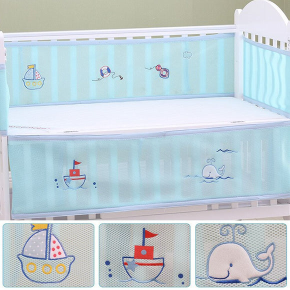 Half Around Washable Breathable Collision-Proof Safety Printing Mesh Portable Bed Bumper Baby Summer Nursery Crib Cartoon