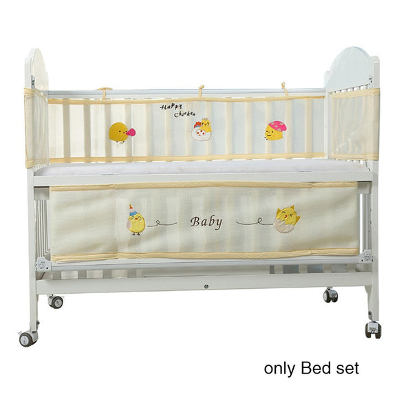 Mesh Bed Bumper Half Around Breathable Nursery Washable Portable Crib Cartoon Collision-Proof Summer Safety Printing Baby