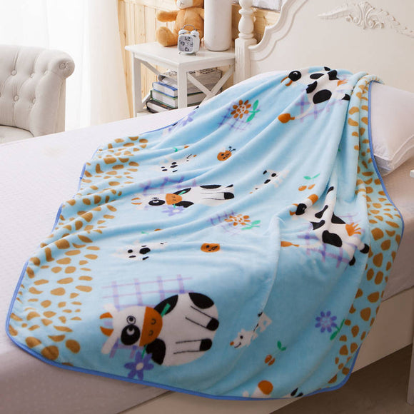 Single Layer Coral Fleece Baby Blankets Newborn Nap Bedding Quilt Cartoon Cow Pattern Kids Blanket 0-6 Years Sleep Cover