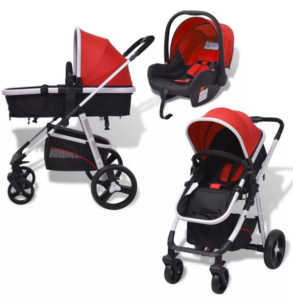 3-In-1 Baby Stroller Folding Strollers Lightweight Large Baby Kids Basket Pushchair 5-Point Seat Belt Removable Sun Canopy