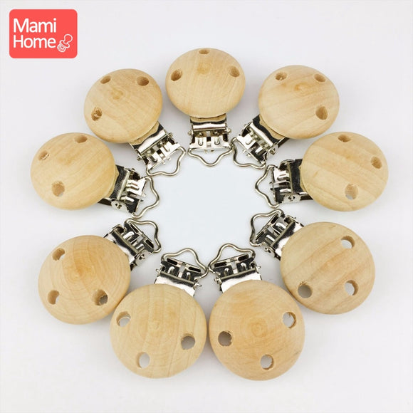 mamihome 10pcs Wood Pacifier Clips Food Grade Materials DIY Pacifier Chain Accessories Chew Toys Nurse Gifts Baby Teething