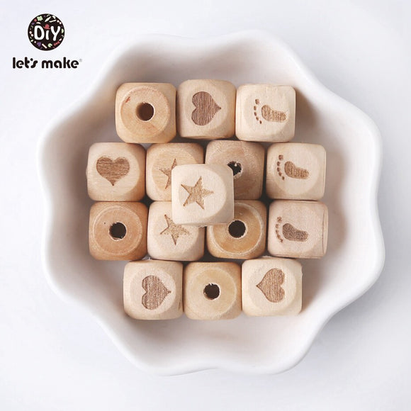 Baby Teether Wooden Printed Breads 10pc 12mm Customsize Jewelry Making Beads DIY Wooden Teether Beads Wood Teething Engraved Toy